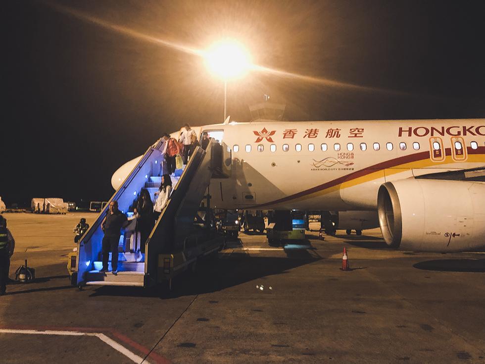 ホーチミン空港に飛行機で到着