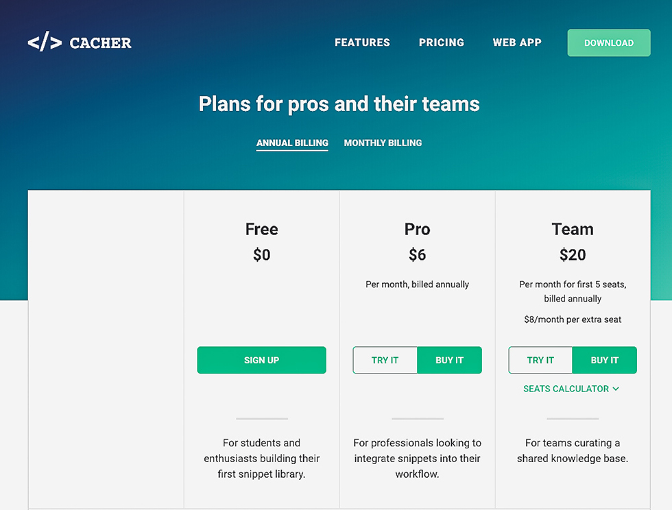 Cacher公式サイトの価格表