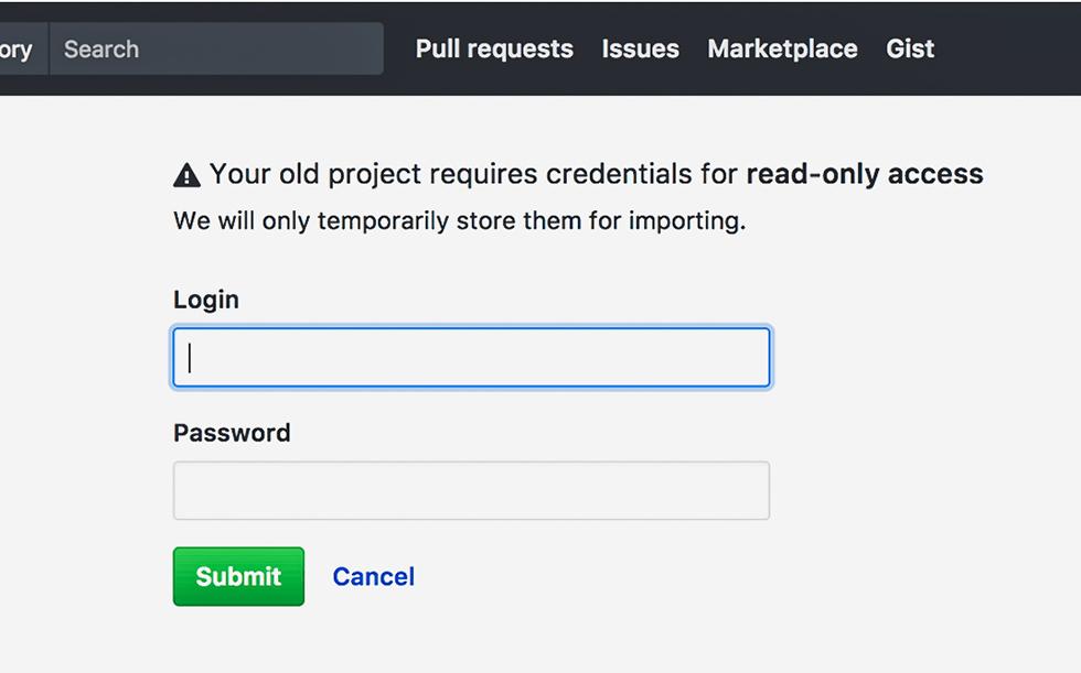 Bitbucket のログイン情報を入力して「Submit」ボタンを押すところ