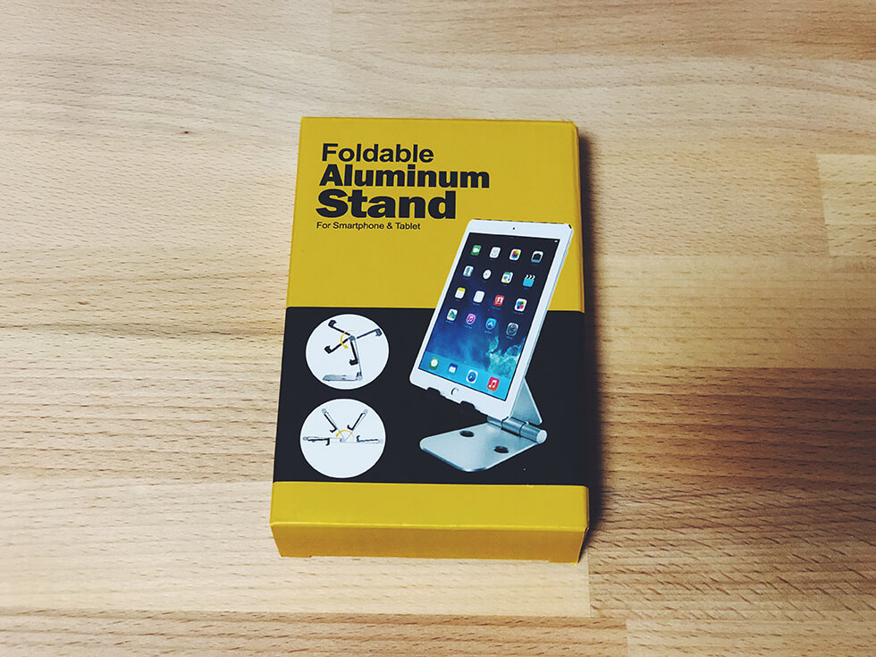 折りたたみ式タブレット用スタンドの説明箱