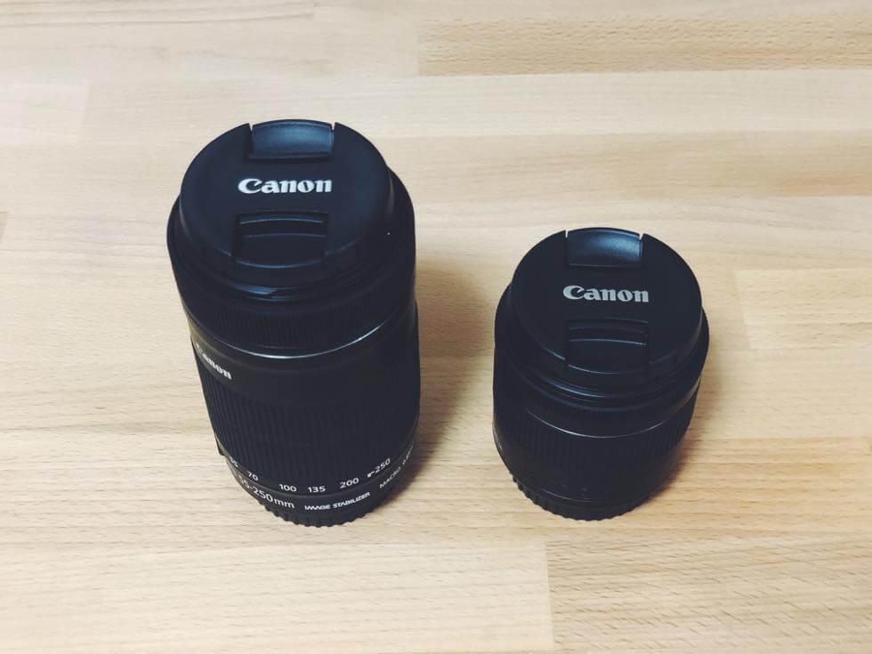 キャノン EOS Kiss X9i ダブルズームキットの標準レンズと望遠レンズ