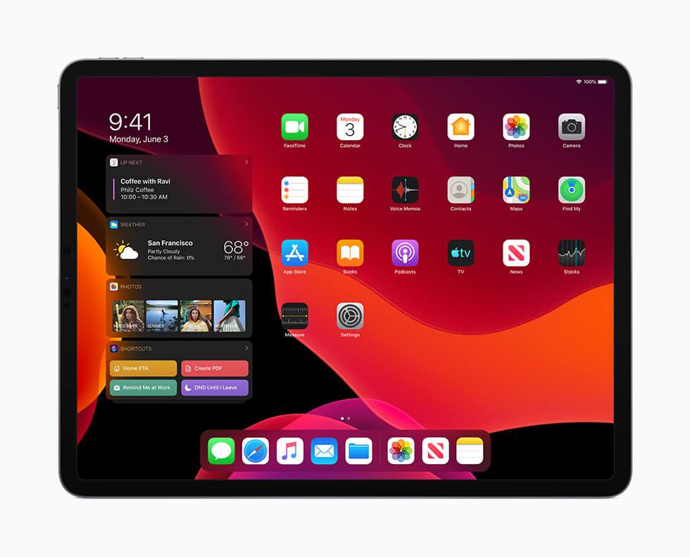 ダークモードを搭載した iPad OS の新しいホーム画面