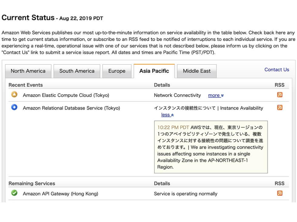 8月23日AWS障害が起きた時のService Health Dashboard