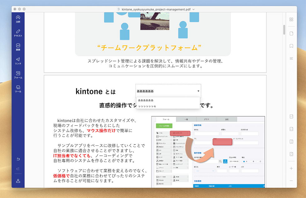 PDFファイルにフォームを追加