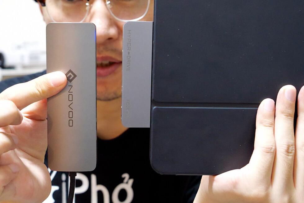 iPad Pro 専用 HyperDrive USB-C ハブとケーブルタイプのUSBハブと比較しているところ