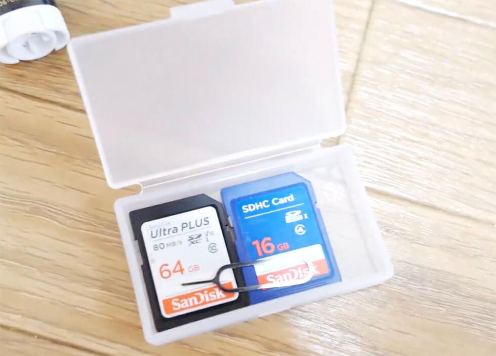 SIMカードやSDカード収納を無印のポリプロピレンケースでしたところ