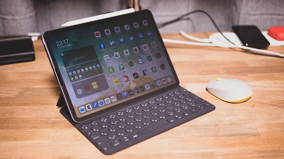 iPad Proでブログ更新している所